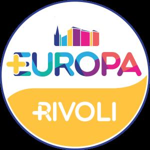 Logo di +Europa Rivoli con il Castello di Rivoli e campanile in pittogramma